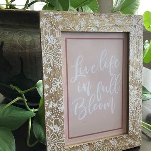 Live Life In Full Bloom inspirational wooden art